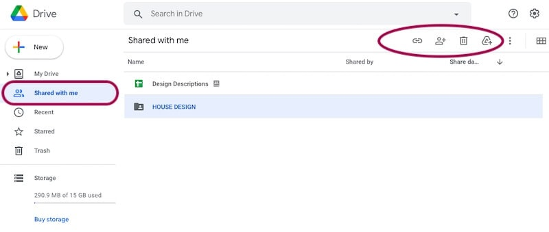 Remove shared videos from Google Drive on computer