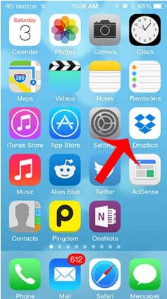 Tap on the dropbox in iPhone