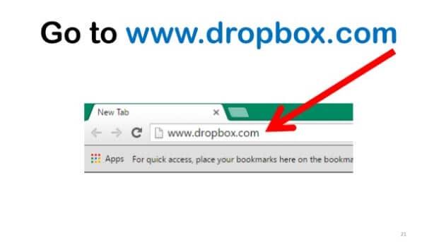 Open dropbox url in Google browser