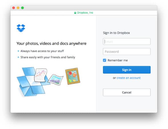 Sign in to your Dropbox Account