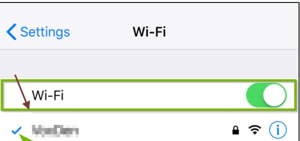 Figure 6 activer l'option Wi-Fi