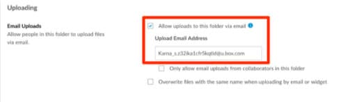 click on settings and enable email uploads