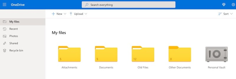 Microsoft OneDrive interface