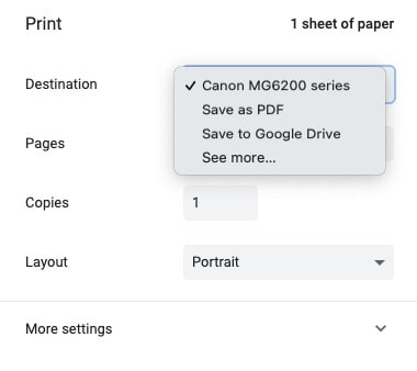 Save to Google Drive option in print settings