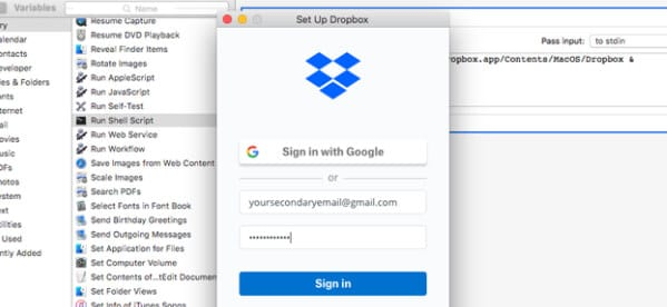 sign in with your secondary dropbox account details