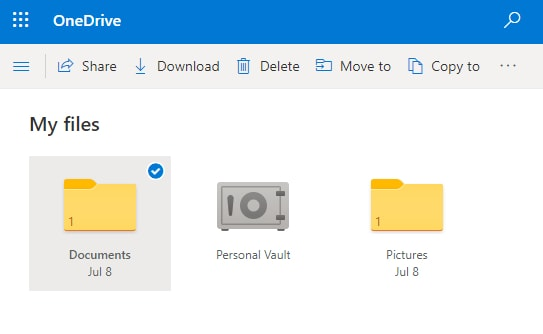 select the folder and click on share