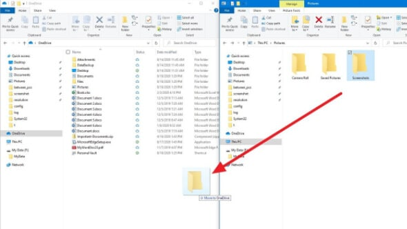 drag and drop the files in the onedrive folder on your pc