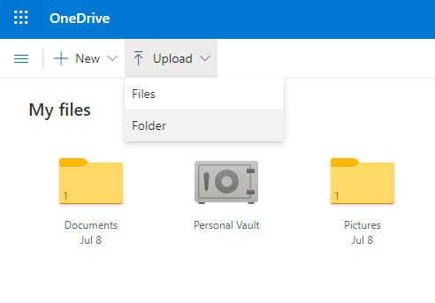 Click on upload and choose either file or folder