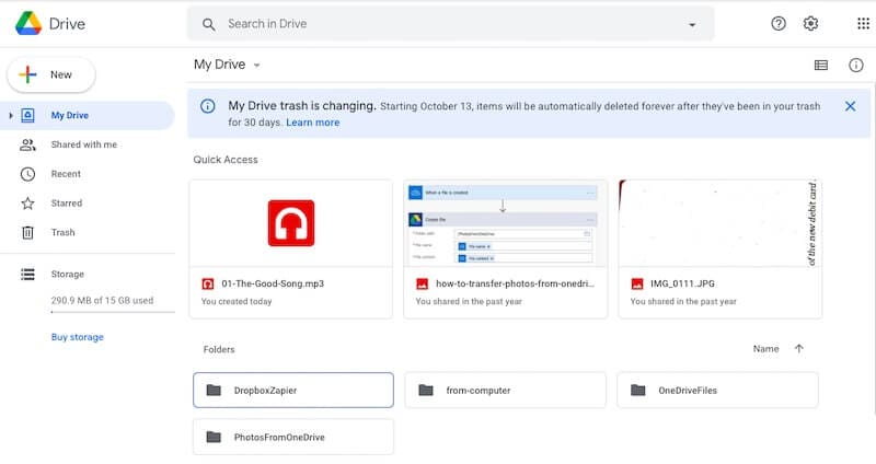 Google Drive interface on the web