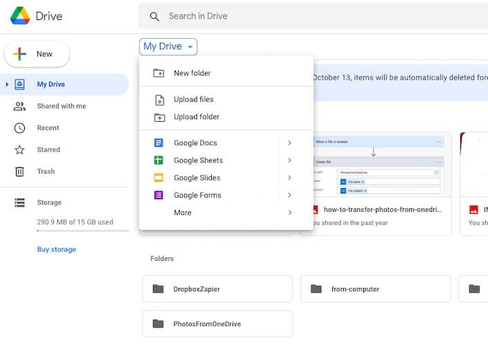 Click to upload in Google Drive interface on the web
