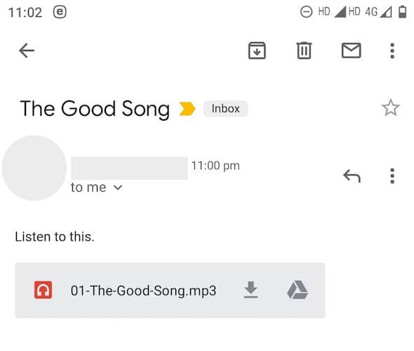 Tap the Google Drive icon to save music straight to Google Drive