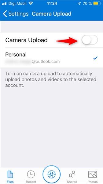 turn camera upload ON