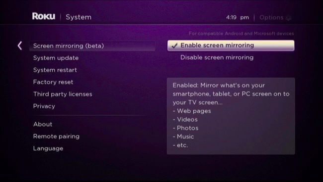 enable screen mirroring feature