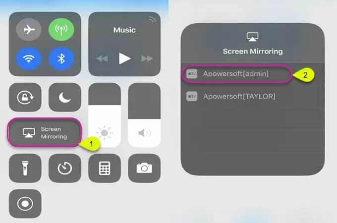 access screen mirroring option