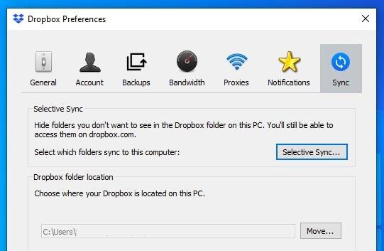 Selective Sync option in Dropbox on Windows
