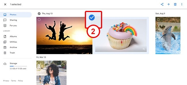 selecting images manually in google photos account
