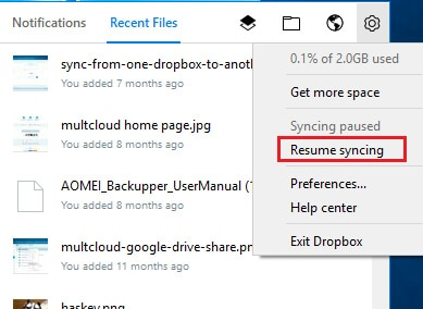pause and resume syncing