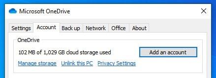 Unlink PC option in OneDrive on Windows