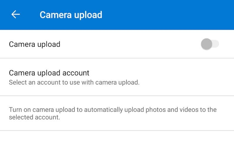 Enable Camera Upload in OneDrive on Android