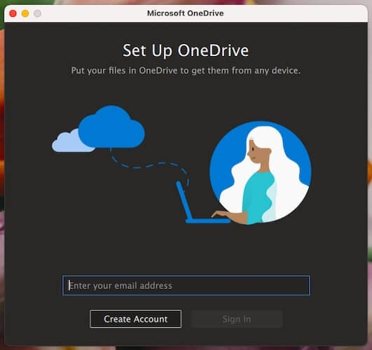 Sign In into OneDrive on macOS