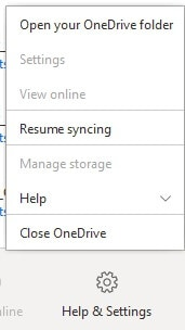 Resume Syncing OneDrive on Windows