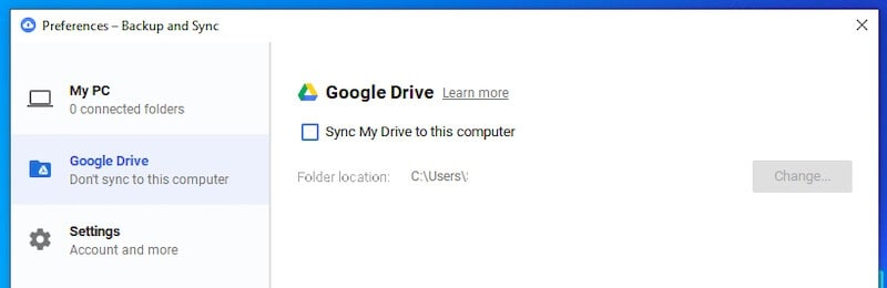 Uncheck Sync My Drive in Backup and Sync app to Stop Google Drive Sync