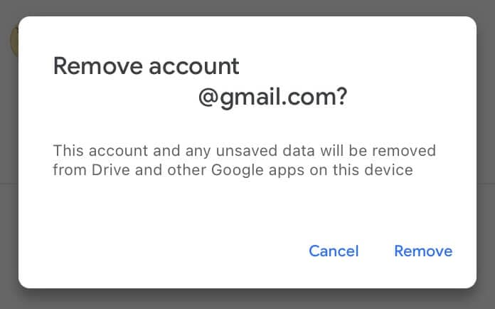 Click Remove to sign out of Google Drive in iOS