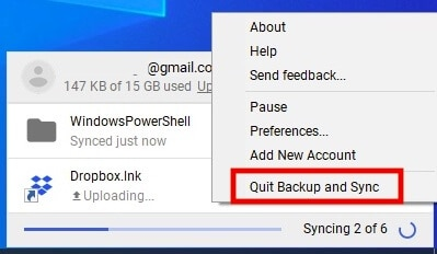 Quit Google Backup and Sync On PC