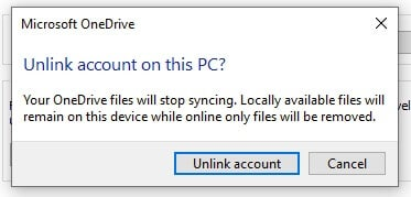 Unlink PC to stop OneDrive on Windows