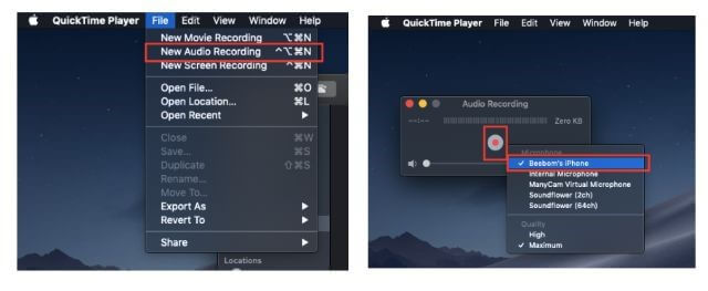 select the new audio recording from file tab