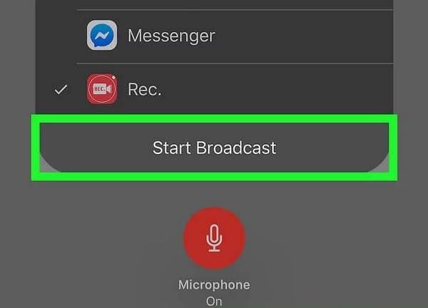 click on start broadcast