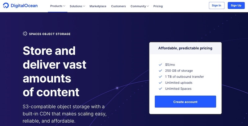 DigitalOcean Spaces home page