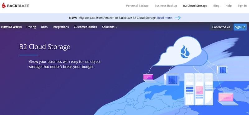 Backblaze B2 object storage home page
