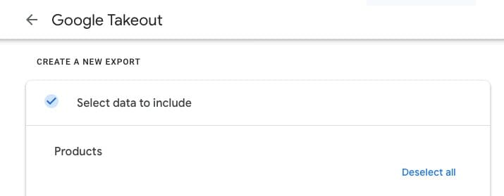 Google Takeout data selection