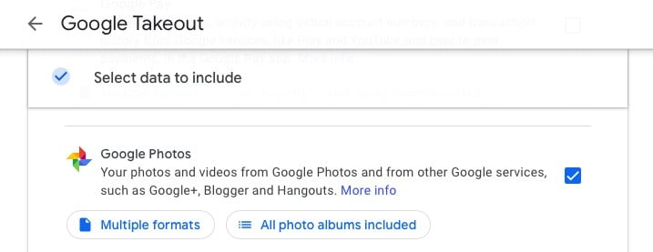 Selecting Google Photos in Google Takeout