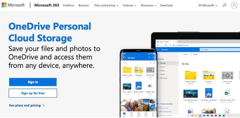 Microsoft OneDrive web page