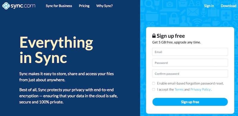 Sync.com web page