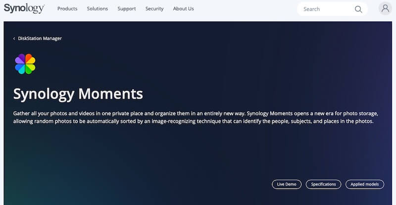 Synology Moments web page