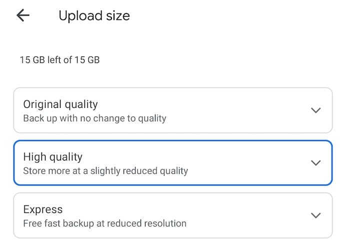 Google Photos Upload Size Options