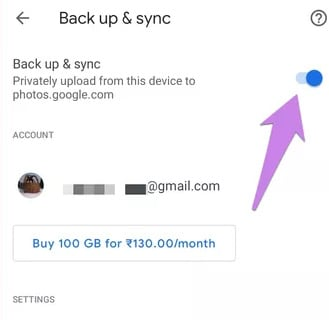 disable backup and sync