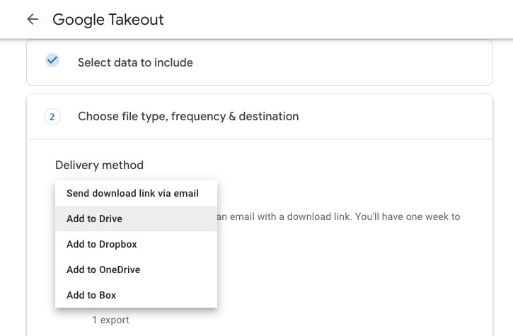 Select Delivery Method in Google Takeout