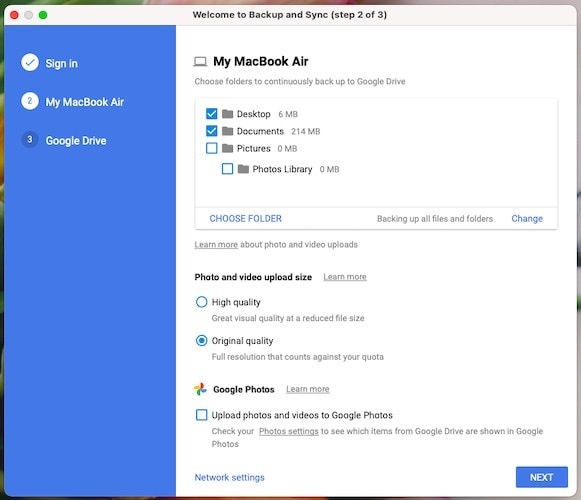 Choose what to upload to Google Drive using Backup and Sync (macOS)