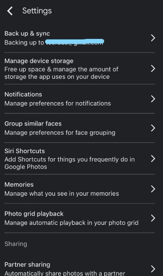 tap on backup and sync