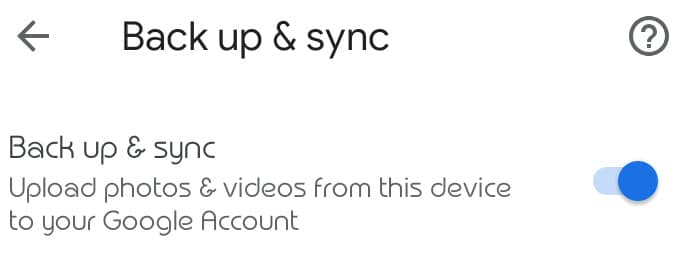 toggle off backup and sync