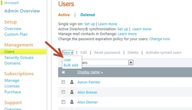creating new users in office 365