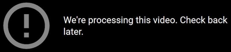 Infamous video processing error in Google Photos