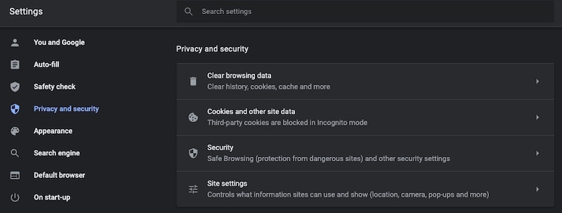 Clear browser cache in Chrome