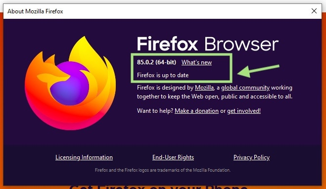 Select About Firefox to update browser