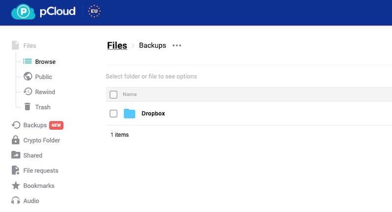 pCloud Dropbox backup