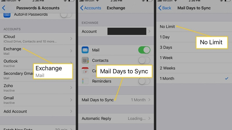 setting mail as no limit in iphone